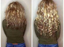 alongamento de cabelo com microlink cacheado loiro