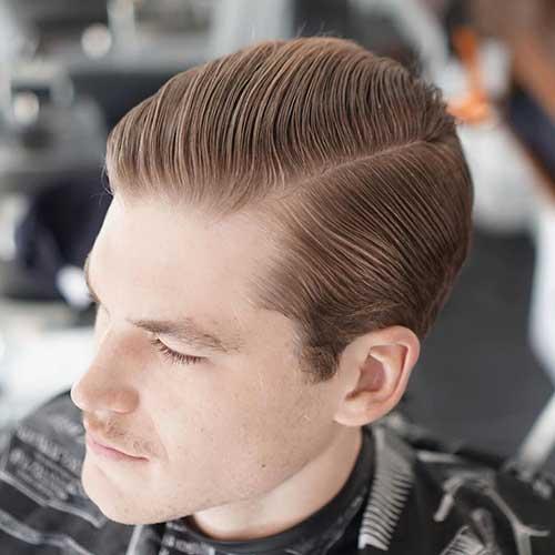 cabelo medio tradicional partido pros lados