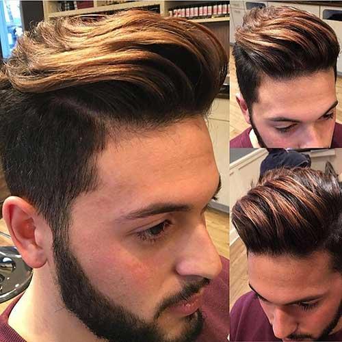 cabelo liso masculino com luzes castanhas douradas