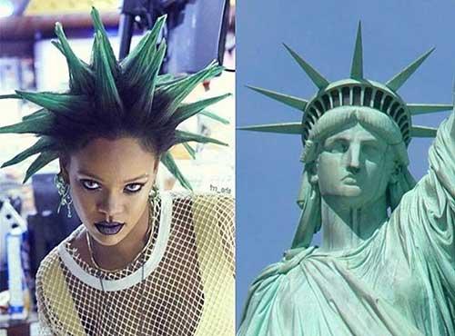foto de penteado inspirado na estatua da liberdade