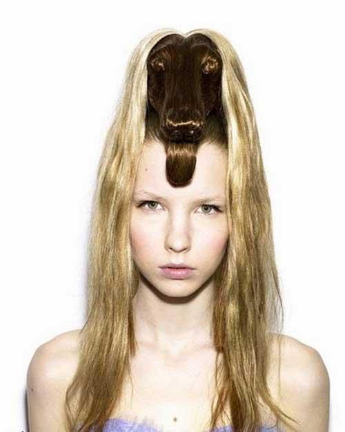penteado feminino diferente em forma de cachorro