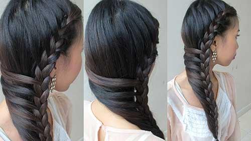 cabelo liso com penteado tipo trança lateral
