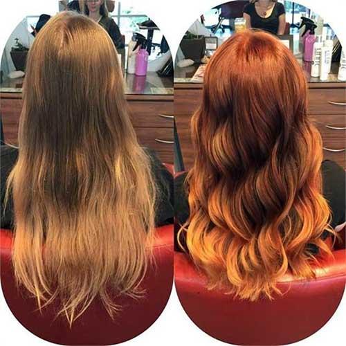 antes e depois de matizar o cabelo acobreado
