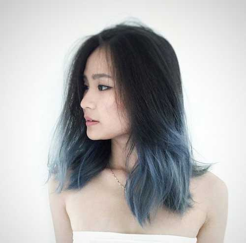 cabelo preto liso com ombre azul acinzentado