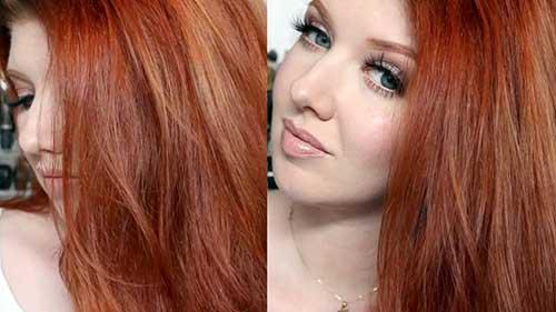 cabelo avermelhado acobreado liso em pele branca