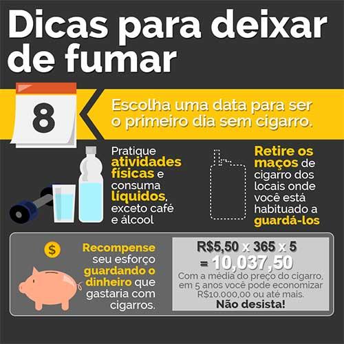 infografico com dicas pra nao fumar mais