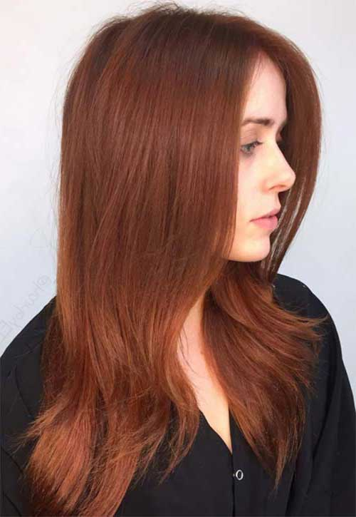 cabelo liso comprido na cor marrom acobreada