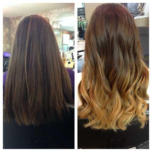resultado de ombre hair com as pontas loiras no cabelo escuro