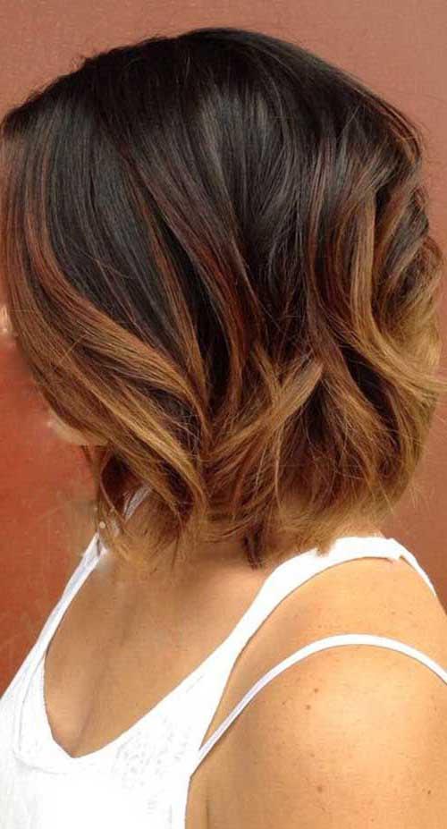 ombre hair acobreado em cabelo escuro curto