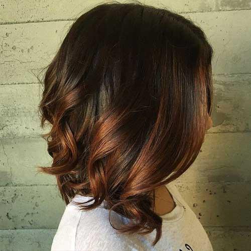 cabelos curtos escuros com mechas ombre tom cobre