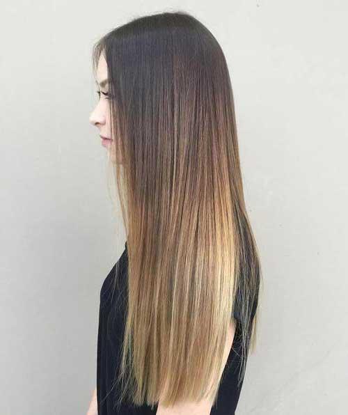 cabelo marrom alisado com mechas ombre hair