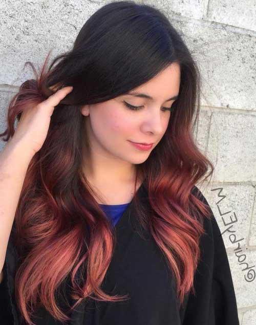 cabelo vermelho acobreado com ombre hair bonito