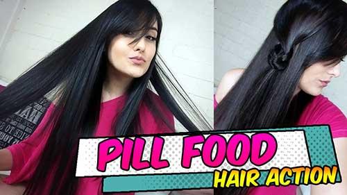 cabelos bonitos usando pill food