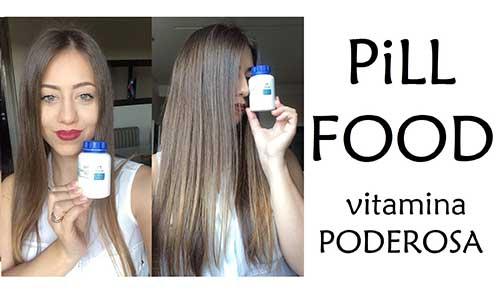 cabelo bonito utilizando pill food