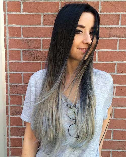 ombre hair nas pontas de cabelo escuro e liso