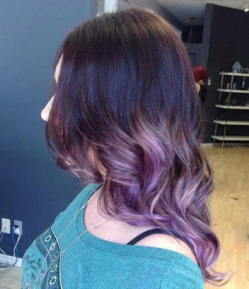 mechas ombre hair lilas no cabelo preto