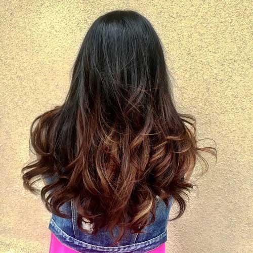 cabelo com ombre hair preto e marrom