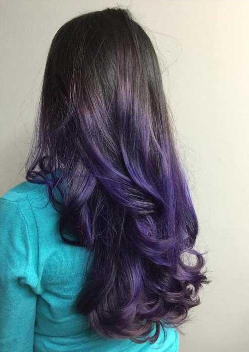 cabelos negros com ombre roxo bonito