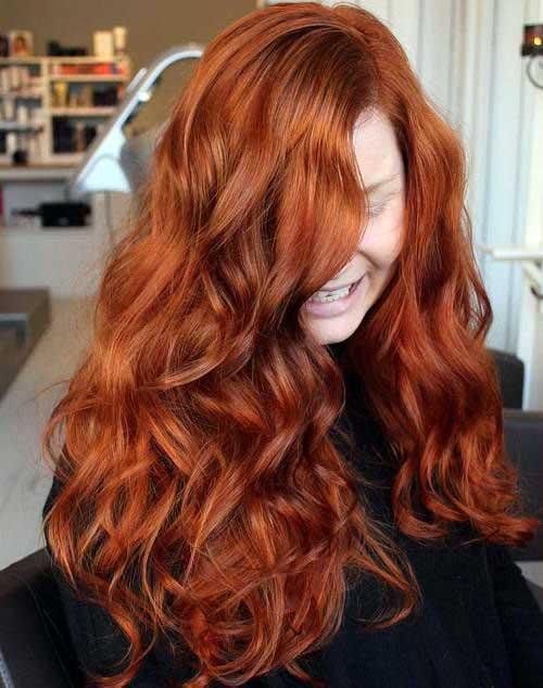 cabelo ondulado vermelho acobreado e matizado