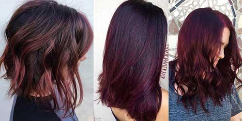 cabelo vermelho borgonha de diferentes jeitos