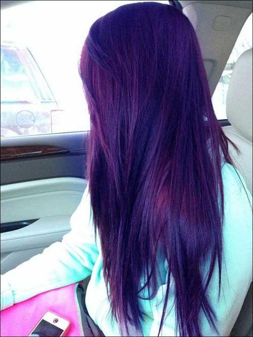 cabelo longo pintado de lilas