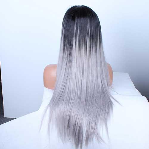 cabelo preto com ombre cinza platinado