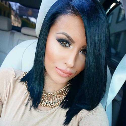 cabelo preto azulado super liso e moderno