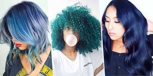 tons diferenciados de cabelo azul bonito