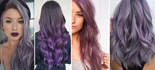 foto com diferentes cores de cabelo lilas