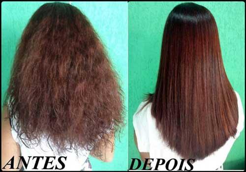 resultado de alisamento japones no cabelo pintado
