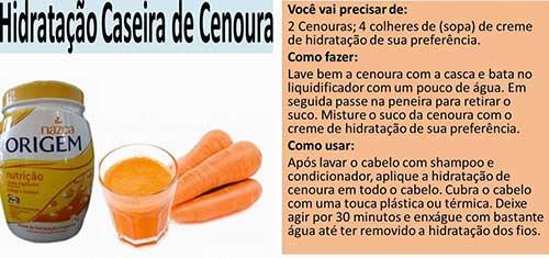 hidratacao caseira de cenoura para gravidas