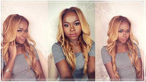 imagem de mulher negra com cabelo loiro bege