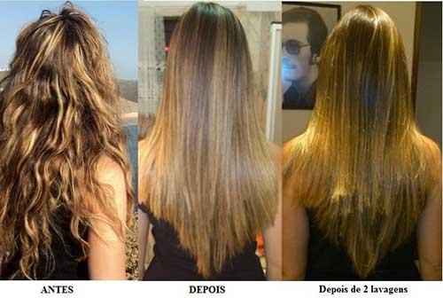 antes e depois de alisar o cabelo com quimica