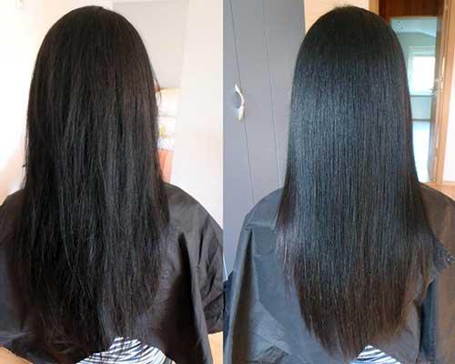 foto com resultados de escova inglesa em cabelos escuros