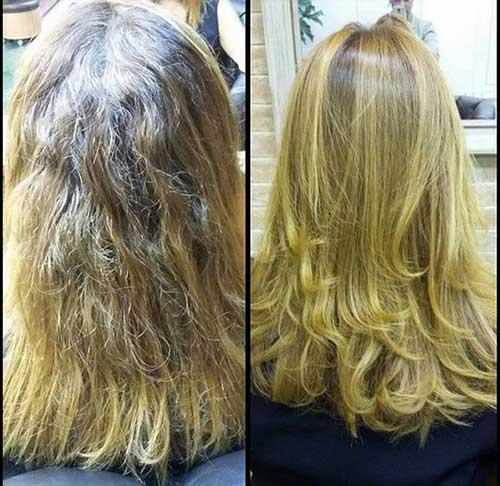 cabelo loiro tratado e alisado com escova progressiva