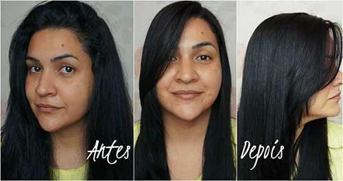foto de antes e depois de fazer retoque da escova progressiva de forma caseira
