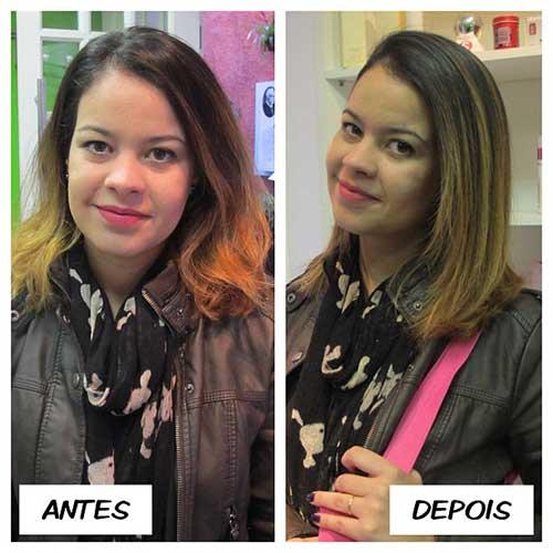 resultado da selagem termica em cabelo feminino