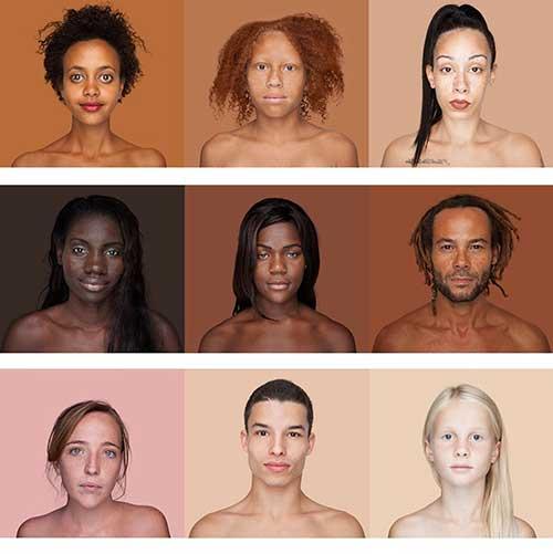 imagem com 9 variacoes de cor de pele