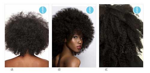 esquema com tipos de cabelo crespo
