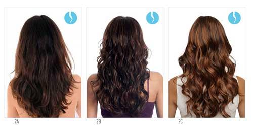 imagem com tipos de cabelo ondulado