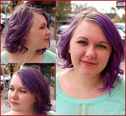 cabelo curto assimetrico roxo para gordinhas