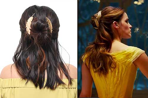 penteado tipo meio coque da bela