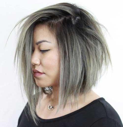 cabelo acinzentado cortado em formato chanel para gordinha