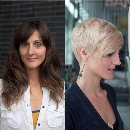 antes e depois de tingir e cortar o cabelo curto