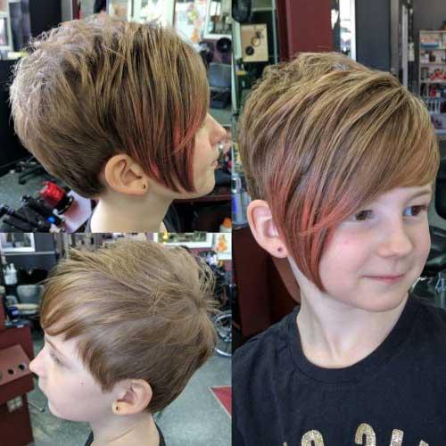 corte de cabelo pixie em camadas em menina