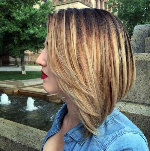 cabelo curto chanel invertido com ombre hair loiro