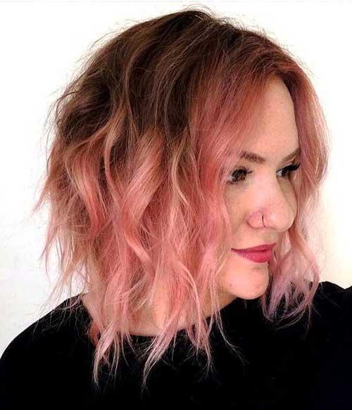 foto de cabelo marrom e rosa cortado curto