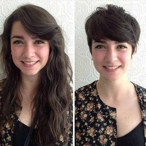 foto de antes e depois de cortar o cabelo mais curto