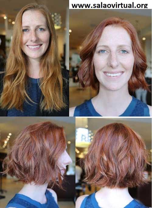 foto de antes e depois de cortar o cabelo e retocar a cor