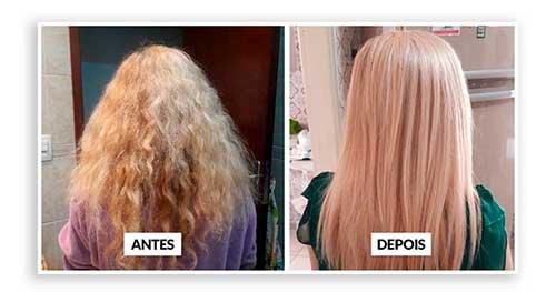 resultado da escova de carbocisteina no cabelo loiro frisado
